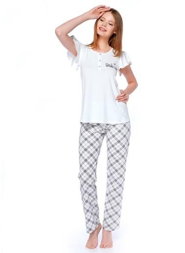 Take It Easy Pijama Takım Ekru